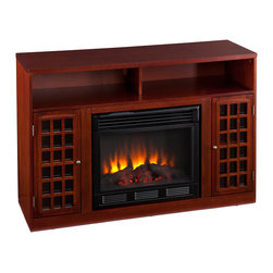 SEI - Narita Media Mahogany Electric Fireplace - Contemporary styling, modern conveniences and the relaxing glow of fire are all combined into this luxurious piece. Finished with a rich mahogany stain, the firebox itself is framed in by a cabinet with an adjustable shelf on each side. Above is an open shelf, divided in two by the center support structure. The open shelf includes two rear openings, one in each section, for cord management making it ideal for all of your media equipment or game consoles. Portability and ease of assembly are just two of the reasons why our fireplace mantels are perfect for your home. Requiring no electrician or contractor for installation allows instant remodeling without the usual mess or expense. Use this great functional fireplace to make your home a more welcoming environment.