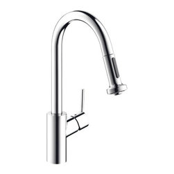 "Hansgrohe - Hansgrohe 14877001 Chrome Talis S Talis S Pull-Down Kitchen Faucet - Product Features:  Assembled in the USA (Alpharetta, GA) All-brass faucet body and handle construction Fully covered under Hansgrohe s limited lifetime warranty Ergonomic pull-down with full and needle sprays enhances the faucets versatility Non-locking spray diverter, hold and release for spray mode Spout swivels 150-degrees providing greater access to more areas of the sink HighArc spout design provides optimal room under the faucet for any size task MagFit magnetic spray head docking M2 ceramic cartridge for a lifetime of smooth operation ADA compliant - complies with the standards set forth by the Americans with Disabilities Act for kitchen faucets Low lead compliant - meeting federal and state regulations for lead content  Product Specifications:  Overall Height: 16-1/8"" (measured from counter top to highest part of faucet) Spout Height: 8-7/8"" (measured from counter top to spout outlet) Spout Reach: 8-3/4"" (measured from center of faucet base to center of spout outlet) Number of Holes Required for Installation: 1 Flow Rate: 2.2 GPM (gallons-per-minute) Maximum Deck Thickness: 1-3/4"" Designed for use with standard U.S. plumbing connections All hardware needed for mounting is included with faucet  Product Technologies and Benefits:  QuickClean: Calcareous water, dirt, cleaning agents; faucets and showers have to be able to withstand a lot. QuickClean technology gives you the power to make residues disappear in an instant. With the silicon nozzles Hansgrohe has fitted to its faucet aerators and shower jets, dirt and lime scale can be rubbed off with ease. This innovation adds infinite value, as products that are well maintained and"