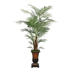 Laura Ashley - Laura Ashley 7 ft. Silk Areca Palm Tree w Decorative Planter - Constructed from Plastic, polyester, rocks, foam, glue, wire, fiberstone. Planter-Container Included. Assembly Required. Lifelike Areca palm tree in a designer urn planter. No need to shop for a planter separately - comes complete with decorative planter. High quality artificial plant offers years of beauty with virtually no maintenance. Add life to your decor, place in a corner to soften edges and make a room more welcoming. Decorate your home or office. 43 in. L x 45 in. W x 84 in. H (36.476 lbs.)The Laura Ashley Brand known for luxury and stylish design lets you feel the sand under your toes and sea breezes on your face each time you look at your Areca palm tree. It contains both mature and new growth leaves on its multiple trunks, and there is no need to shop for a planter separately - the planter pictured is included. The perfect choice for your home or office environment. Plants add a feeling of life to a room, making it warmer and more welcoming; artificial plants let you decorate without concern for water damage, trimming, or soil. This high quality tree is brought to you by Vintage Home - setting the standard in permanent botanicals, Vintage Home products bring you a richer and more realistic plant.