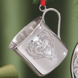 """Reed & Barton Corporation - Sterling Silver Ornament Babys 1st - Overview This heirloom-quality sterling silver ornament from Reed and Barton, known for outstanding craftsmanship and unwavering quality since 1824, make unforgettable gifts.  The adorable baby cup ornament says """"2010"""" on one side and """"Babys 1st"""" on the other, making it a perfect commemorative gift for babies born this year. Hang it on the Christmas tree or an ornament tree for an eye-catching accent.  Features Sterling silver Babys 1st ornament says """"2010"""" and """"Babys First"""" on back Babys 1st ornament includes a thin red satin hanging ribbon   Specifications  Babys first ornament measures 1 1/2"""" high x 1 1/2"""" diameter"""