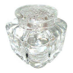 "Used Lidded Inkwell - Up your workspace game with this vintage lidded inkwell. With a 2"" diameter lid & a 1.25"" interior circumference mouth, this bold vintage glass lidded inkwell accommodates ink, stamps or paper clips."