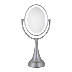 Zadro - Oval LED Lighted Vanity Mirror - Zadro's Oval LED Lighted Vanity Mirror features dual-sided, optical quality glass to ensure a clearer reflection of your true self. On one side, the 10X magnification is great for touch-ups, detail, and make-up application. On the other side, the 1X magnification is perfect for all-around hairstyling, cosmetics, and every beauty need in between.