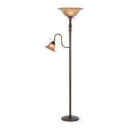Cal Lighting - 100W Torchiere w 60W Reading Lamp - Requires 100W bulb (not included). Torchiere with 60W reading lamp & glass shade. Rust finish. Height: 70.25 in.. Base: 11.5 in.. Weight: 30 lbs.