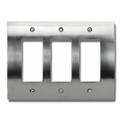 Atlas - Zephyr Triple Rocker Switch Plate in Brushed - Manufacturer SKU: PHPTR-BRN. Projection: 0.37 in.. Made from metal. 4.87 in. L x 6.75 in. W
