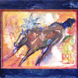 She Ran Calling Wildfire (Original) by Beth Barnett - Found objects were used to set up a scene. The painting was made to evoke visual interest and musing.