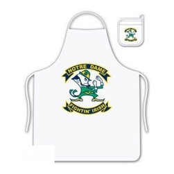 Sports Coverage - Notre Dame Fighting Irish Tailgate Apron and Mitt Set - Set includes your favorite collegiate Notre Dame University Fighting Irish screen printed logo apron and insulated cooking mitt. White apron with white silver backed mitt. Both items are logoed. Tailgate Kit apron and mit is 100% cotton twill with screenprinted logo.