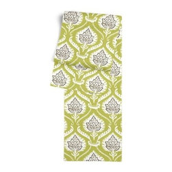 Lime Artichoke Custom Table Runner - Get ready to dine in style with your new Simple Table Runner. With clean rolled edges and hundreds of fabrics to choose from, it's the perfect centerpiece to the well set table. We love it in this preppy modern print of lime green and gray artichokes and damask-like scrolls.