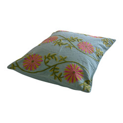 Crewel Pillow Sham Sunflower Vine Aqua Standard