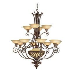 Murray Feiss - Murray Feiss Stirling Castle Traditional Chandelier X-BRB1+21/8191F - Multiple tiers of lights ensure that this Murray Feiss chandelier will provide plenty of ample lighting in any setting. From the Stirling Castle Collection, it features beautiful antique excavation glass shades whose rich tones compliment the look of the coordinating British Bronze finish.