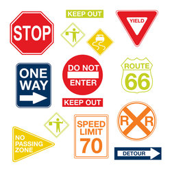 "WallPops - Road Signs Wall Decals - Road signs make great wall art! These eye-catching kids decals bring iconic American road signs to life on your walls in bold graphics.  This wall art kit contains 14 pieces on two 17.25"" x 39"" sheets. WallPops are repositionable and always removable."