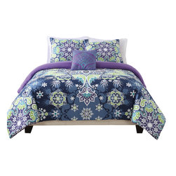 Pem America - Boho Kaleidoscope Full / Queen Comforter With 2 Shams - Boho Kaleidoscope is a beautiful blend of  geometric shapes and patterns with perfect symmetry. Hues of purple, blue and green make this style a cool and comforting pattern that will add flare to your trendy bedroom decor. Full / Queen comforter measures 90x90 inches with 2 20 x 26 inch shams. 100% Polyester Machine washable.