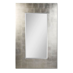 Uttermost - Rembrandt Silver Mirror - Features A Generous 8 in.  Wide, Flat Profile Frame Finished In Lightly Antiqued Silver Leaf. Mirror Has A 1 1/4 in.  Bevel.