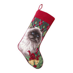 "Peking Handicraft - Himalayian Cat Needle Point Stocking - With its charming vintage design and intricate needle point quality, our adorable pet stockings are ready to fill with toys and treats for your best friends! This well made stocking features a plush velveteen color coordinated back and is meant to last for years! Indeed Decor will donate 20% of profits to animal rescue charities. Dry Clean Only. 11"" x 18""."