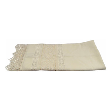 "Fiesta - Turkish Cotton Hair Wrap Towel with Lacy Trim - Your hair is your crowning glory and deserves the gentle softness of this luxury Turkish cotton towel.  Use to dry your hair then twirl it up turban style. Cream towel with silky lace inserts and trim.  Towel is 19"" wide x 35"" long, not including the lace trim."