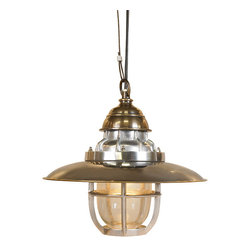 "Inviting Home - Steamer Deck Pendant Lamp - Steamer deck pendant lamp 13-3/8""dia x 12-3/8""H Steamer pendant lamp features interesting combination of brass and aluminum parts; lamp made to withstand generations of use; industrial dome-glass surrounded by cast aluminum grate; ceiling bracket in brass included. Clearly created in a workroom instead of an Italian designer��_��__s studio. Almost Steam-punk with a rugged tactile feel. Brass sheet solid airplane aluminum fittings. Cooling ribs to divert heat. Good to touch... Even better to vieW Lighting the galleries passages and corridors of early 20th C. steamships and tramp steamers. Will survive centuries."