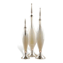 Interlude - Coit Cream Bottles - Set the stage for Hollywood Regency glamour with this elegant trio of large glass bottles. Made of aluminum and creamy white mercury glass, three unique polished nickel toppers give each bottle its individual distinction. A candlelit room captures the sparkle and shine of these ornamental tabletop bottles.