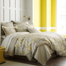 """Peacock Alley - Peacock Alley Catalina Linen Duvet Cover - Peacock Alley's luxurious collection of bedding and bath accessories captures the essence of classic style. The Catalina duvet cover indulges a bed with sumptuous comfort and elegant design. On plush, textured linen, this eye-catching bedding showcases a striking damask pattern in yellow, linen and nude beige hues. Features white piping. Available in queen and king sizes. Made from 100% linen. Machine washable. Insert not included. Queen: 90""""W x 90""""H. King: 105""""W x 90""""H."""