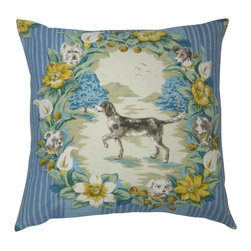 Designer Pillows Workshop - Prancing Dogs Pillow in Blues/Cream - One custom made pillow using unique, vintage printed linen fabric featuring prancing dogs in blues, grey and yellow on cream.  Blue cotton fabric on back, sewn shut with luxury down/feather blend pillow filler.  Our pillows are specially constructed using an additional cotton lining to prevent puckering and allows the pillow to naturally retain its shape.
