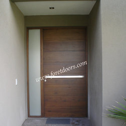 Modern contemporary entry doors - Modern solid wood entry door with sidelight and horizontal stainless steel pull