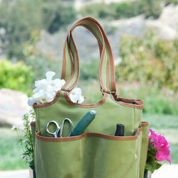 Lime Garden Tote - Enjoy this lime garden tote to house all of your gardening tools, seeds and a sun hat if the weather is especially nice. The tote measures 13 inches across and 18.5 inches high, handles included.