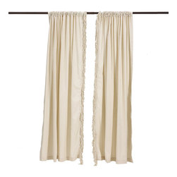 """Ballard Designs - Bullion Fringe Panel - 5 1/2"""" natural bullion fringe. 3"""" rod pocket. Dry clean. Make any room in your home feel like a cozy cottage getaway with our Bullion fringe panel. The panel gently filters sunlight, while the  adds a touch of playful comfort. Includes a .  only.Bullion Fringe Panels feature:. . ."""