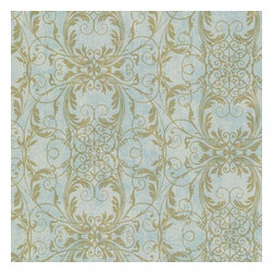 Brewster Home Fashions - Tianna Turquoise Ironwork Scroll Wallpaper Bolt - Cool turquoise is warmed up with a time honored distress creating a chic backdrop for an exquisite medallion motif of glittery gold scrolls.