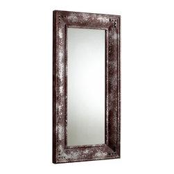 Distressed Rustic Iron Mirror Rectangle w Nail Trim - *Mercury Mirror