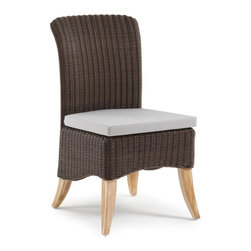 Domus Ventures - Domus Ventures Fiji Teak Dining Side Chair Multicolor - 650373-6 - Shop for Chairs and Sofas from Hayneedle.com! For the finest chair on teak legs look no further than the Fiji Teak Side Dining Chair. Contempo curves please the eye especially well when paired with the timeless texture of hand-woven wicker. And this isn't your grandmother's poky-scratchy peeling wicker; synthetic Abaco XF wicker is formed of high-density polyethylene a recyclable non-porus material that stands up to moisture temperature extremes and UV exposure. You'll never need to paint or stain and it's stain- and dirt-resistant so you can simply clean it with soap and water. An outdoor-grade seat cushion adds a bit of extra cush and consists of a foam core covered in outdoor-grade Olefin. And you can feel good knowing that it's made by a company dedicated to environmental stewardship and the well-being of its workers. Assembly required.About Domus Ventures Pte. Ltd.Established in 1997 Domus Ventures is a German-owned manufacturer that has grown into a dominant global player in the furniture industry. Exporting over 1 600 containers annually each design and each piece is subjected to the highest level of scrutiny ensuring the company's commitment to excellence. Often using materials such as teak natural wicker loom paper fiber and resin wicker Domus Ventures is always exploring and testing new materials to find beautiful and sustainable high-quality designs while striving to produce unique modern and contemporary furniture that creates the perfect setting for your home and lifestyle whatever your taste budget or needs might be. Despite their growth into a company that employs over 2 200 factory and office staff in China Indonesia Singapore Germany and the United States Domus Ventures prides itself not just on its products but also on its ethical production which includes decent worker benefits and compensation as well as ecofriendly green initiatives.