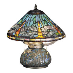 "Meyda Lighting - Meyda Lighting 27159 17""H Tiffany Dragonfly W/Tiffany Mosaic Base Table Lamp - Meyda Lighting 27159 17""H Tiffany Dragonfly W/Tiffany Mosaic Base Table Lamp"