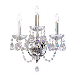 Quorum Lighting - Quorum Lighting Bohemian Katerina Traditional Bathroom Light X-415-3-136 - Chandelier stylized flair is accentuated by a bold Chrome finish on this Quorum Lighting bathroom light. From the Bohemian Katerina Collection, this traditional bathroom light features three candelabra lights and is adorned with clear crystal-style accents that are sure to delight.