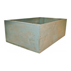 Wine Crate - Vintage wood wine crate from Domaine Des Grands Vins, France in distressed blue finish.