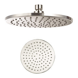 """Aqua - Rain Shower Head 8"""" Round Brushed Nickel - •Swivel function. •Ceiling mount. •1/2"""" IPS connections. •Maximum water pressure of 80 psi. •Made of solid brass materials."""