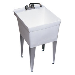 """Swanstone - Swanstone SF-1F010 White Utility Tubs 22 Gallon Laundry Tub Structural - 22 Gallon Laundry Tub Structural Foam 24"""" D x 20"""" WWhen itÂ's time to get busy, SwanÂ's utility products and accessories are ready to go to work. Our selection of laundry tubs, service sinks and shower cabinets offer you solutions that are strong, practical and performance-minded.Swanstone SF-1F Features:Made of structural foam, lightweight but strong Comes with molded-in drain and stopper Includes one set of angular steel legs (4) Overall Height: 33-5/8"""""""