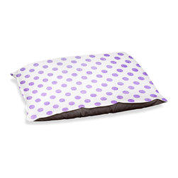 "DiaNoche Designs - Dog Pet Bed Fleece - Colored Dots Purple - DiaNoche Designs works with artists from around the world to bring unique, designer products to decorate all aspects of your home.  Our artistic Pet Beds will be the talk of every guest to visit your home!  BARK! BARK! BARK!  MEOW...  Meow...  Reallly means, ""Hey everybody!  Look at my cool bed!""  Our Pet Beds are topped with a snuggly fuzzy coral fleece and a durable underside material.  Machine Wash upon arrival for maximum softness.  MADE IN THE USA."