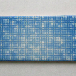 Custom Photo Factory - Daltile Ceramic Wall Tile Multiple Blue Dots Pattern . - Pack of/Case of: 20 Tiles. Samples Available for purchase. All of our tiles are printed on white ceramic Daltile; the same high quality tiles found at the hardware store. Our ceramic tiles are permanent designs. They are scratch resistant and highly resistant to chemical wear and sunlight. As a matter of fact, our tiles will never fade, even in direct sunlight, 24 hours a day. The only way to damage the print is to damage the tile itself by breaking it. For use in residential and commercial. Glazed glossy finish with a high sheen and uniform appearance in tone. Dimensions of tile: 3 inches x 6 inches or 4 inches x 4 inches (actual 4-1/4 in. x 4-1/4 in). Installation: Indoor and outdoor use on walls in your kitchen and bath and living area.