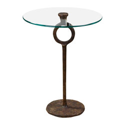 Uttermost - Uttermost Diogo Glass Accent Table - Diogo Glass Accent Table by Uttermost A Clear, Tempered Glass Top Showcases The Hand-wrought Artistry Of This Heavily Oxidized, Cast Iron Side Table.