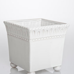 Charlot Cachepot Square - Large - Ceramic bun feet support the flaring cube of the Charlot Cachepot, a square planter for indoor and outdoor use made from ceramic glazed in a cool, creamy white.  Beaded rows edge the freehand texture details which band the cachepot's rim, perfectly combining the eloquence of tradition with the whimsy of artisan craftsmanship for an authentic look of the French countryside.