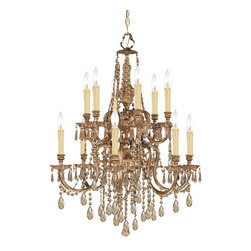 Crystorama - Crystorama Novella 2 Tier Chandelier in Olde Brass - Shown in picture: Ornate Cast Brass Chandelier Accented with Golden Teak Crystal Hand Polished; The Novella Collection's Olde Brass finish and ornate designs make this European series a perfect fit for any traditionalist.