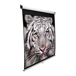 """Elitescreens - 99"""" Manual Pull Down Projection Screen - Manual Series: Business/Education Manual (1:1) Pull Down Projector Screen with Four Sided Black Masking Borders. White Case."""