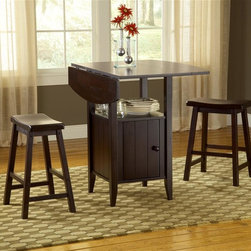 Bernards - 3 Pc Drop Leaf Pub Table Set w Stools in Cher - Set includes pub table with leaf, storage and 2 milking stools. Made of wood. 40 in. W x 40 in. D x 36.25 in. H. 21.25 in. with leaves down
