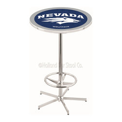 Holland Bar Stool - Holland Bar Stool L216 - 42 Inch Chrome Nevada Pub Table - L216 - 42 Inch Chrome Nevada Pub Table  belongs to College Collection by Holland Bar Stool Made for the ultimate sports fan, impress your buddies with this knockout from Holland Bar Stool. This L216 Nevada table with retro inspried base provides a quality piece to for your Man Cave. You can't find a higher quality logo table on the market. The plating grade steel used to build the frame ensures it will withstand the abuse of the rowdiest of friends for years to come. The structure is triple chrome plated to ensure a rich, sleek, long lasting finish. If you're finishing your bar or game room, do it right with a table from Holland Bar Stool.  Pub Table (1)
