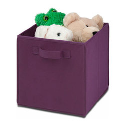 Honey Can Do - Non-Woven Foldable Storage Cube - Purple - Durable polyester construction. Designed to hold Books, Toys, Games, Magazines, CDs, DVDs, almost anything. Contemporary design . Convenient and attractive storage. Folds flat when not in use. Stores away quick and easy. 10.6 in. L x 10.6 in. W x 11.5 in. H (1.3 lbs.)Honey-Can-Do SFT-01763 Folding Storage Cube, Purple. Designed to hold books, toys, games, and anything else you want to stash away. The durable polyester construction, reinforced seams, and carrying handles on this storage cube will stand up to it all! The contemporary design provides convenient and attractive storage space for any decor. When not in use, the cube can fold flat for easy storing. Great for car trunks, kid's rooms, closets, shelving units, and more!