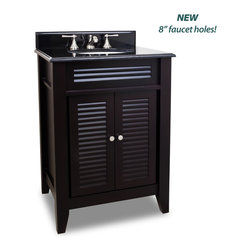 """Hardware Resources - Elements Bathroom Vanity - This 26-1/2"""" wide MDF vanity features louvered doors to give this vanity a country flair. The warm espresso finish and clean lines lends a contemporary feel. A large cabinet provides ample storage. This vanity has a 2 cm black granite top preassembled with an H8809WH (15"""" x 12"""") bowl, cut for 8"""" faucet spread, and corresponding 2 cm x 4"""" tall backsplash. Overall Measurements: 26-1/2"""" x 21-3/4"""" x 35-3/4"""" (measurements taken from the widest point) - Faucet must be purchased separately."""