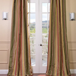 Mirage Faux Silk Taffeta Stripe Curtains - Defined by a unique sheen and fine weave, our Exclusive Poly Taffeta Curtains & Drapes are gorgeous and timeless. Our Taffeta drapes have a crisp smooth finish in striped patterns. The Poly Taffeta fabric provides you with a quality, cost saving alternative.