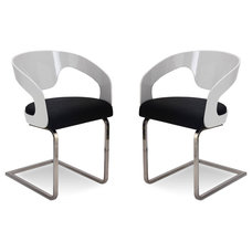 Modern Dining Chairs Vicky Black-White Lounge Chair Set with Floral Pattern
