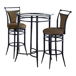 Hillsdale - Hillsdale Cierra Mix-n-Match 3-Piece Pub Table Set with Stools in Bear - Hillsdale - Pub Sets - 4596PTBS2BRN - The Mix-N-Match Pub Table Set is bold and contemporary turning heads and impressing guests with its svelte design sense. Tastefully understated the table features tapering supports with a rich black finish for an eye-arresting appeal. The Cierra chairs will perfectly complement the clean fluid lines of the pub table.