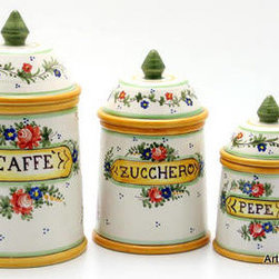 Artistica - Hand Made in Italy - VENEZIANO: Canister Set (3 Pcs) - VENEZIANO: Our Veneziano collection features a simple but still a classic design.