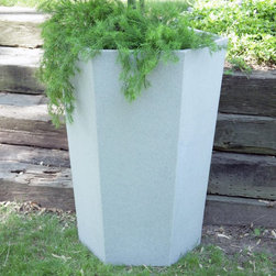Riverside Plastics - Hexagonal Resin Taos Planter - LRHE-18-1510-W - Shop for Planters and Pottery from Hayneedle.com! What We Like About This PlanterThe unique shape of the Hexagonal Taos Planter adds subtle appeal to your garden or sun room without overpowering your floral arrangements or plants. True to its name this planter is six-sided and crafted of durable lightweight poly resin plastic making it resistant to chipping and cracking. Suitable for indoor or outdoor use in any climate this commercial-quality planter is UV-protected for complete fade resistance. Designed for use in the harshest climates it will not crack or break during the freeze-and-thaw season. Available in a variety of convenient sizes and great colors so you are sure to find the combination that works for you. You can also choose whether your planter comes with or without drainage holes. The Taos Hexagonal Planter is perfect for spaces where height is an advantage. Get one of each size to use together -- then let your gardening and decorating talents do the rest to create an attention-getting display! SIZE DIMENSIONS:Dimension DefinitionsHeight(H): Measurement from top to bottomDiameter(diam.): Measurement across the opening 20 in. Planter 20.5 diam. x 18H inches Inner lip diameter: 18.5 inches Inner base diameter: 18 inches Weight: 14.5 lbs. 21 in. Planter 21.75 diam. x 24H inches Inner lip diameter: 19.75 inches Inner base diameter: 18 inches Weight: 18.5 lbs. 23 in. Planter 23 diam. x 30H Inches Inner lip diameter: 20.75 inches Inner base diameter: 18 inches Weight: 22 lbs. 24 in. Planter 24 diam. x 36H inches Inner lip diameter: 22 inches Inner base diameter: 18 inches Weight: 24 lbs. About Riverside PlasticsFor versatile containers that can take the heat look to Riverside Plastics. With planters that look and feel like clay pots but are actually made of strong polyethylene Riverside offers planters durable and attractive enough for use in golf courses hotels malls and theme parks. Riverside planters are appropriate for use indoors or out and come in a pleasing variety of sizes (from 8 - 60 inches) and colors that span the color wheel. Preferred by architects decorators landscape designers and plantscapers for projects around the world Riverside Plastics offers products that provide the means to fill your needs.