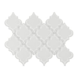Arabesque Fleur Snow Water Jet Cut Glass Mosaic -