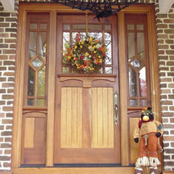 Craftsman wood doors - Unique two tone finish on Phirst and Lassing mahogany wood entry doors.